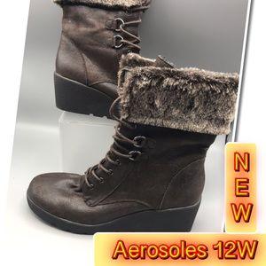 Aerosoles Brown Faux Fur Women's Boots size 12
